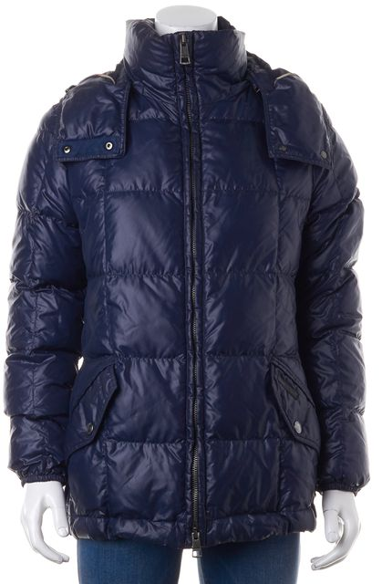 BURBERRY BRIT Blue Goose Down Filled Hooded Zip Up Puffer Coat