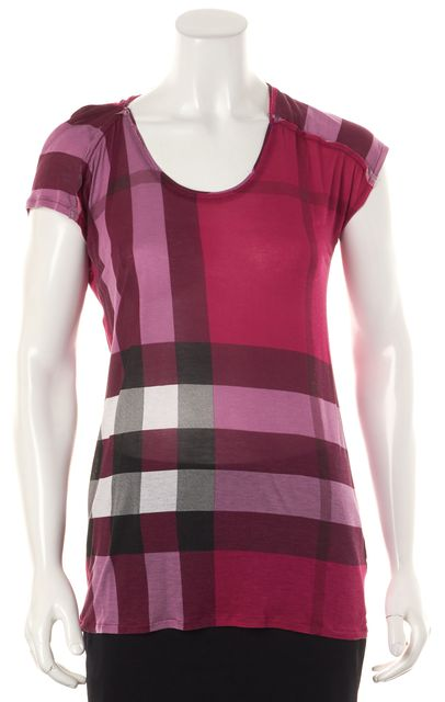 BURBERRY BRIT Pink Purple Plaid Modal Scoop Neck Basic T-Shirt