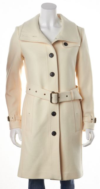 BURBERRY BRIT Ivory Wool Belted Long Military Style Winter Coat