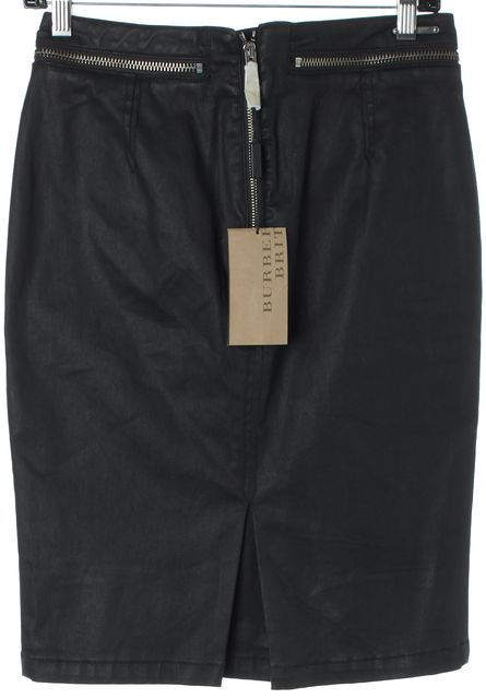 BURBERRY BRIT Black Zip Trim Coated Pencil Skirt