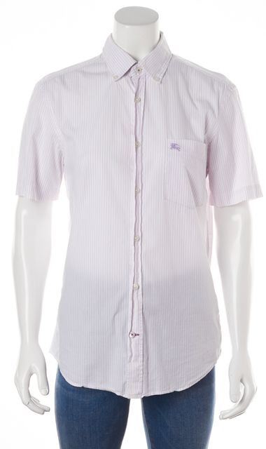 BURBERRY BRIT White Purple Striped Short Sleeve Button Down Shirt