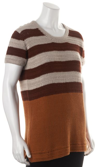 BURBERRY BRIT Beige Red Orange Striped Short Sleeve Open Knit Top