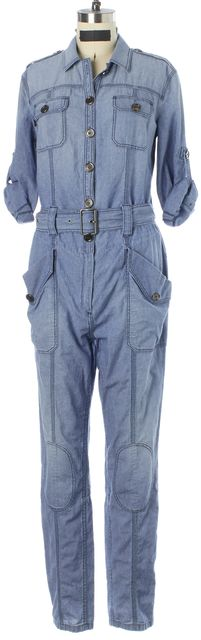BURBERRY BRIT Blue Denim Rolled Sleeve Belted Relaxed Jumpsuit
