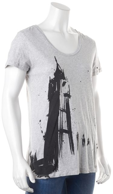 BURBERRY BRIT Gray Black Graphic Tee T-Shirt