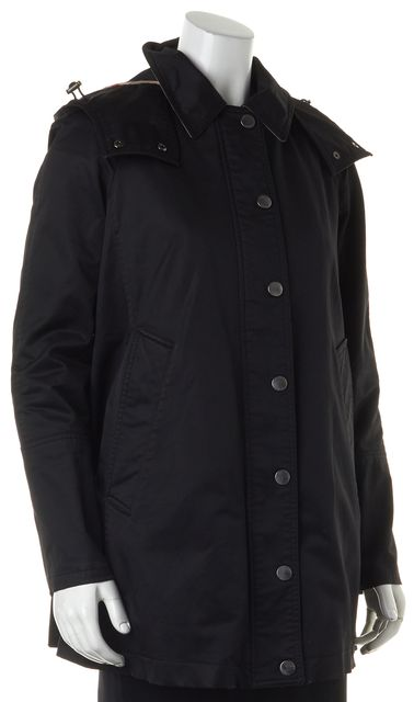 BURBERRY BRIT Black Zip Front Basic Hooded Jacket Coat