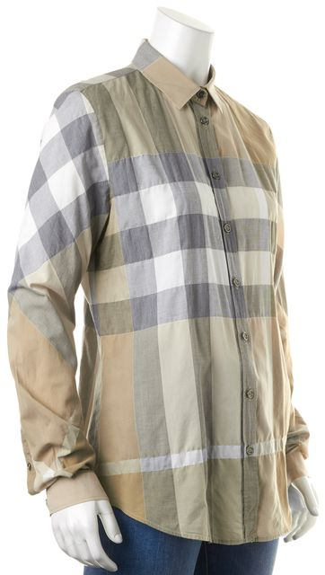 BURBERRY BRIT Beige Plaid Button Down Shirt Top