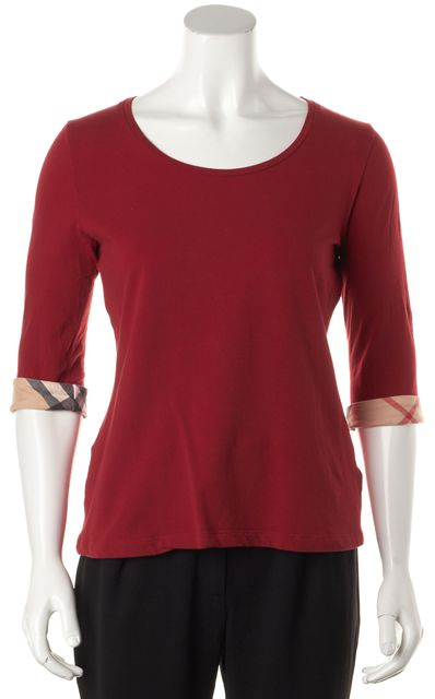 BURBERRY BRIT Red House Check Cuffed Sleeve Knit Top
