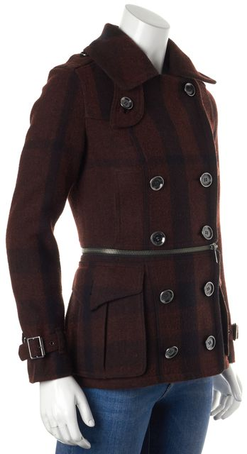 BURBERRY BRIT Red Black Wool Check Plaid Peacoat Jacket US 2 IT 36