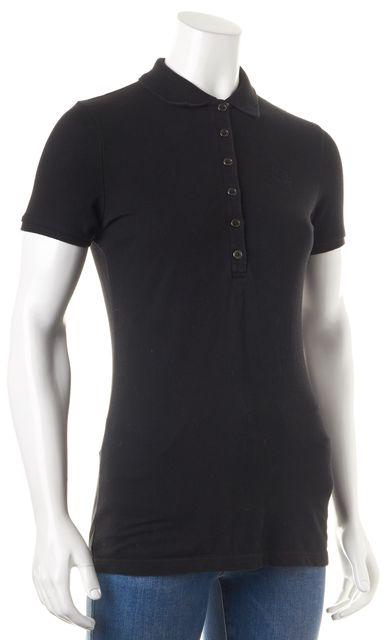 BURBERRY BRIT Black House Check Trim Short Sleeve Polo Shirt