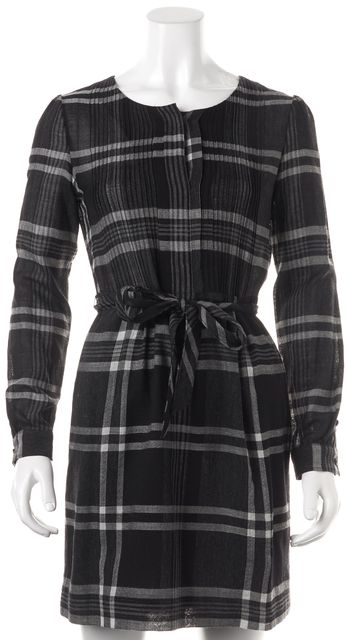 BURBERRY BRIT Black Gray Plaid Wool Long Sleeve Blouson Dress