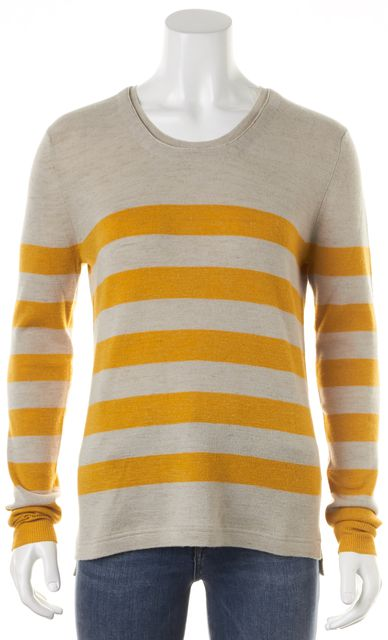 BURBERRY BRIT Beige Yellow Striped Wool Crewneck Sweater