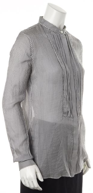 BURBERRY BRIT Gray White Striped Silk Bib Front Long Sleeve Blouse