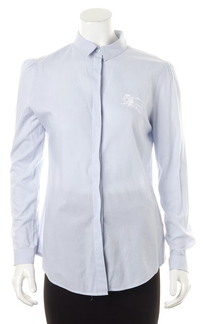 BURBERRY BRIT Blue White Striped Long Sleeve Button Down Cotton Shirt