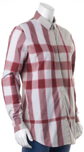 BURBERRY BRIT Burgundy Gray Plaid Long Sleeve Button Down Cotton Shirt