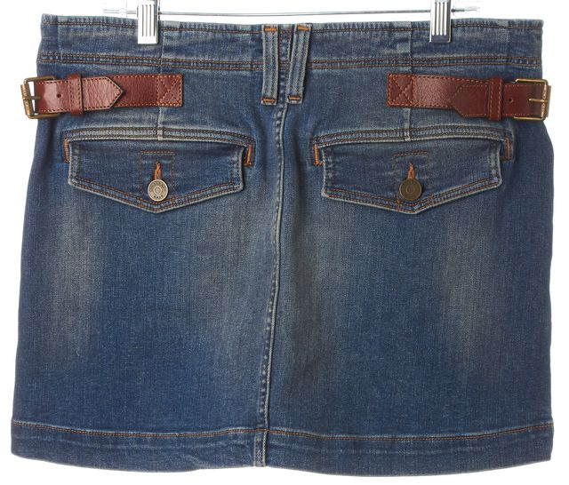 BURBERRY BRIT Blue Pleated Belted Denim Mini Skirt