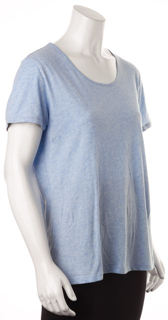 BURBERRY BRIT Heather Blue Cotton Short Sleeve Basic T-Shirt