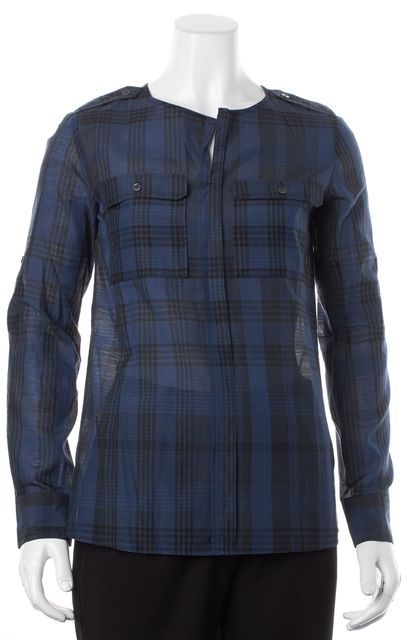 BURBERRY BRIT Navy Blue Plaid Cotton Silk Long Roll Tab Sleeves Blouse Top