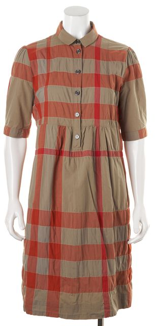 BURBERRY BRIT Orange Beige Plaid House Check Shirt Dress
