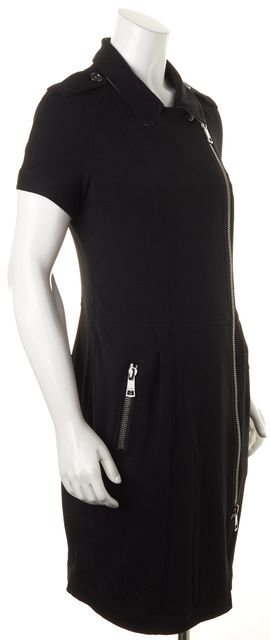 BURBERRY BRIT Black Wool Short Sleeve Asymmetrical Zip Sheath Dress