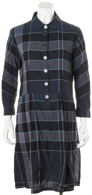 BURBERRY BRIT Blue Purple Plaid House Check Shirt Dress