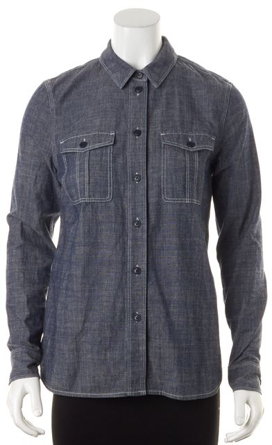BURBERRY BRIT Blue Chambray Contrast Stitching Button Down Shirt