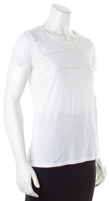 BURBERRY BRIT White Eyelet Trim Short Sleeve Crewneck T-Shirt