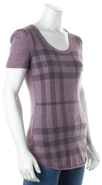 BURBERRY BRIT Purple Black Plaid House Check Basic T-Shirt
