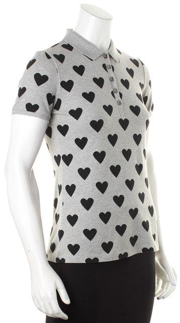 BURBERRY BRIT Gray Black Heart Print Cotton Polo Shirt Top