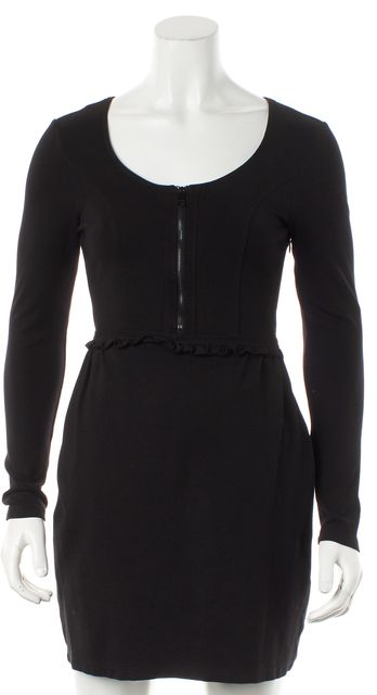 BURBERRY BRIT Black Front Zipped Long Sleeve Sheath Dress