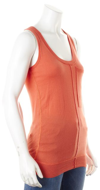 BURBERRY BRIT Coral Orange Cotton Scoop Neck Knit Tank Top