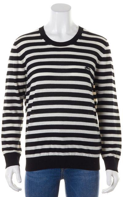 BURBERRY BRIT Black White Striped Cashmere Crewneck Sweater