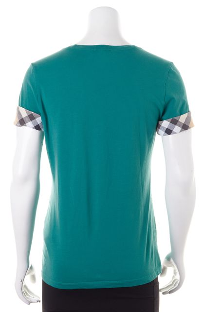 BURBERRY BRIT Teal Blue Check Short Sleeve Basic T-Shirt