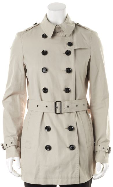 BURBERRY BRIT Beige Double Breasted Belted Trench Coat