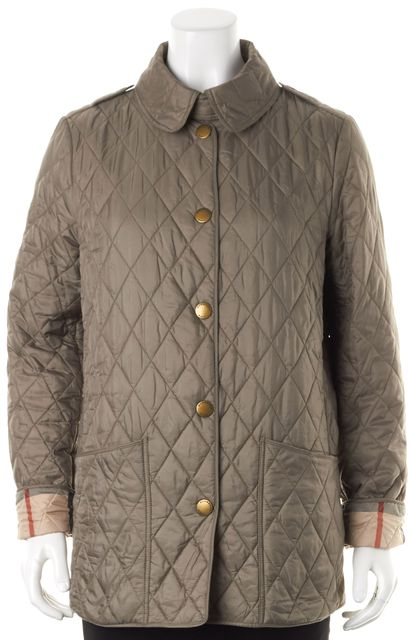 BURBERRY BRIT Olive Green Quilted Nylon Snap Button Jacket