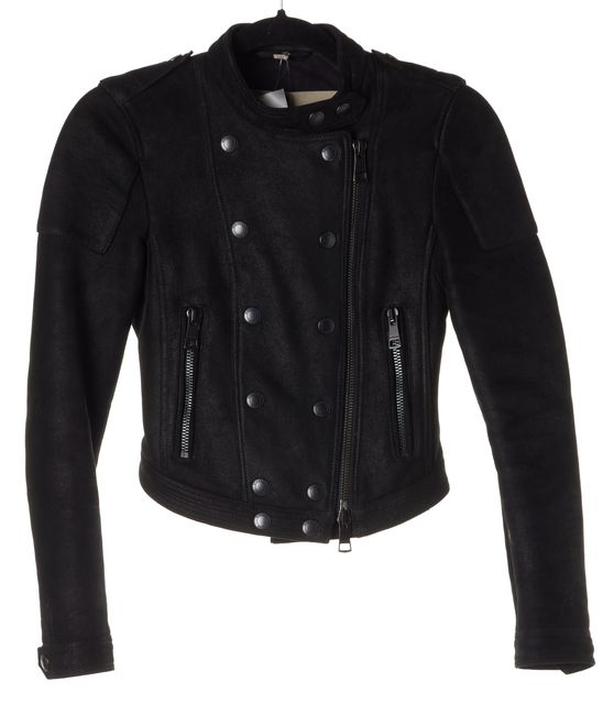 BURBERRY BRIT Black Leather Shearling Lining Motorcycle Jacket