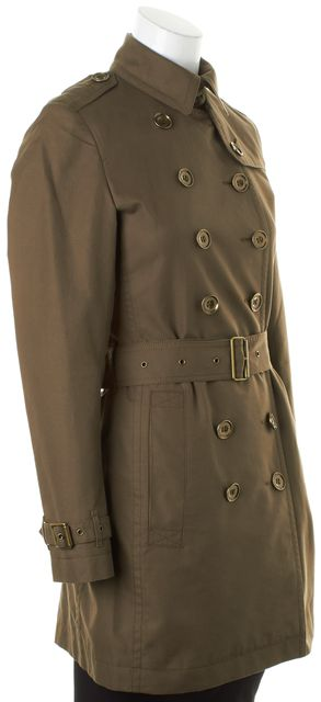 BURBERRY BRIT Olive Green Belted Double Breasted Trench Coat