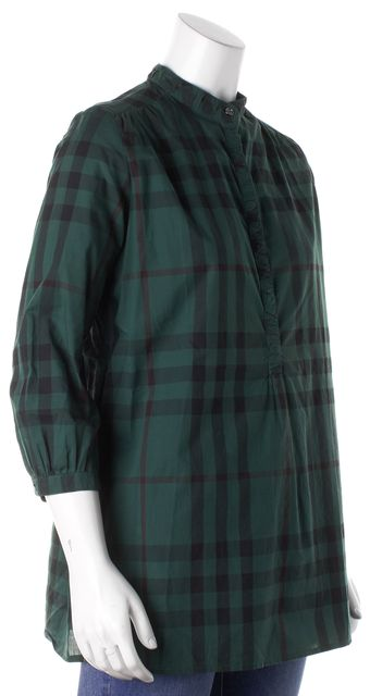 BURBERRY BRIT Green Plaid Button Up Top
