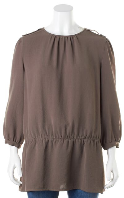 BURBERRY BRIT Taupe Brown Elastic Waist Blouse Top