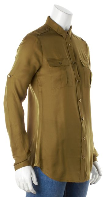 BURBERRY BRIT Olive Green Silk Long Sleeve Button Down Shirt Top