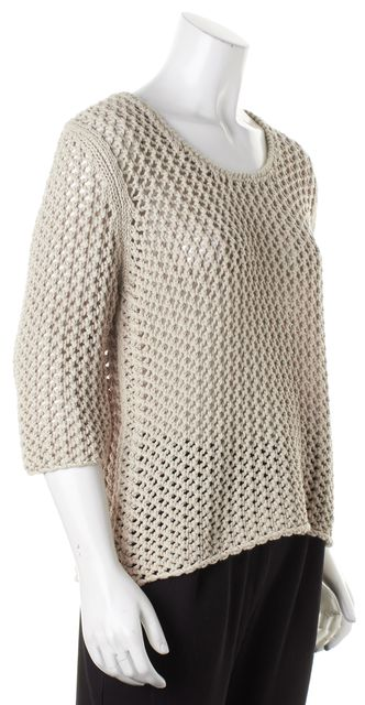 BURBERRY BRIT Beige Short Sleeve Semi Sheer Open Knit Top