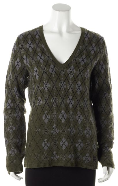 BURBERRY BRIT Green Argyle Knit Wool V-Neck Sweater