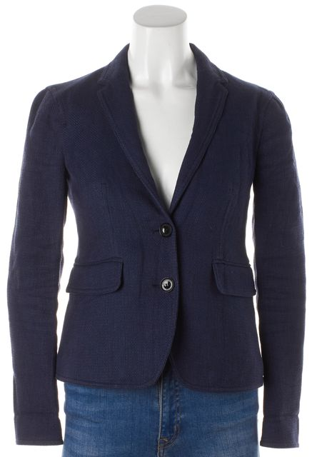 BURBERRY BRIT Navy Blue Linen Two Button Up Career Blazer