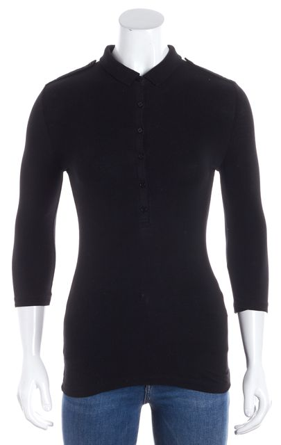BURBERRY BRIT Black 3/4 Sleeve Button Polo Blouse