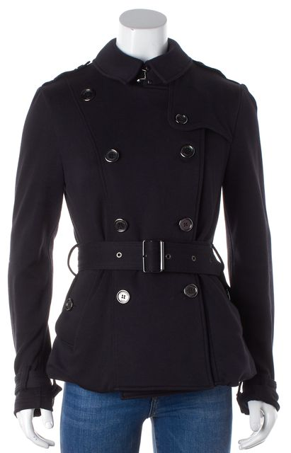 BURBERRY BRIT Blue Cotton Jersey Peacoat Jacket