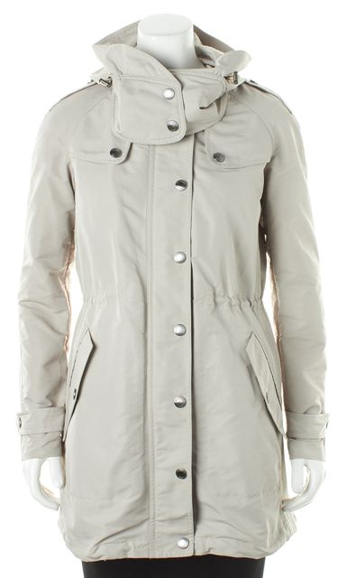 BURBERRY BRIT Beige Trench Hooded Basic Coat Jacket