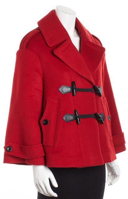 BURBERRY BRIT Red Wool Nova Housecheck Lined Toggle Duffle Peacoat
