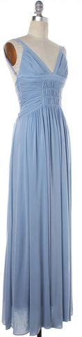 BCBGMAXAZRIA Baby Blue Halter Full Length Dress