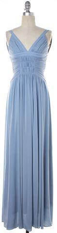 BCBGMAXAZRIA Baby Blue Halter Full Length Dress