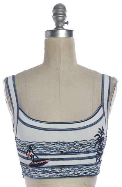 BCBGMAXAZRIA Blue White Surf Island Aryelle Knit Crop Top
