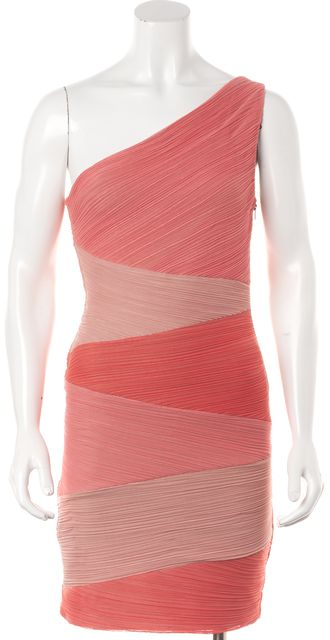 BCBGMAXAZRIA Coral Pink Peach Beige Colorblock Kira Casual Sheath Dress